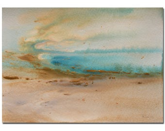 Coastal Art Original, Abstract Seascape Painting, Original Watercolor painting, Landscape, Art Painting, Fathers Day Gift, Mom,Dad Gift