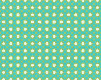 Seventy-Six by Alison Glass Sunshine in Tiffany A-8448-T cotton fabric andover modern material quilting supplies green stars sun