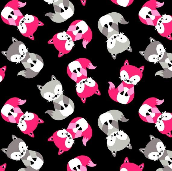 Black friendly fox heavenly plush fleece anti pill for Celestial fleece fabric