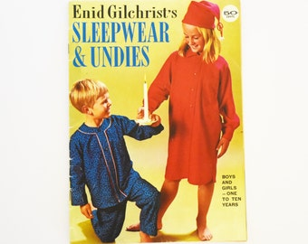 Collectable Enid Gilchrist Pattern and Drafting Book - Softcover - Boys and Gils Sleepwear and Undies - 1960's