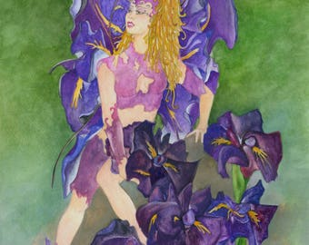 Hand Painted Japansese Purple Iris flower fairy in watercolors //Great Gift//Great Decoration//Art for your walls//Drawing//Painting//Fairy