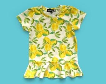 Lemon Peplum tee, peplum shirt, toddler girl shirt, toddler peplum, lemons, lemon print, lemon shirt
