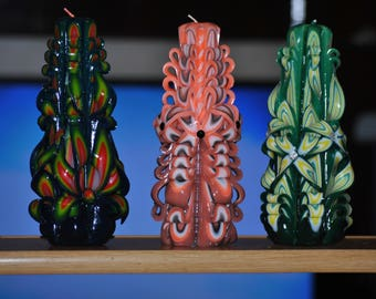 Giant Handcarved Candle SET OF 3 PCS