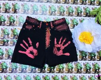 Jeans shorts, shorts, women shorts, black shorts, shorts with applications, swarovski shorts