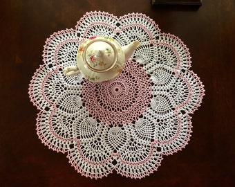Rose Quartz Doily - Lace Doily - Coffee Table Doily - Pineapple Crochet Doily - Handmade Doilies - Rustic Decor - Housewarming Gift