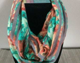Infinity scarf - jersey knit cotton - lightweight for all seasons - gift for her - coral and teal floral and stripe