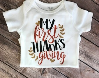 My first thanksgiving bodysuit, thanksgiving bodysuit, baby shower gift, baby gift idea, thanksgiving bodysuit