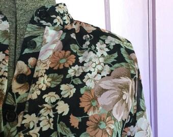 Vintage 1970s Sears Floral Shirt/Dress Size Small- Vintage Dress- Vintage Clothing