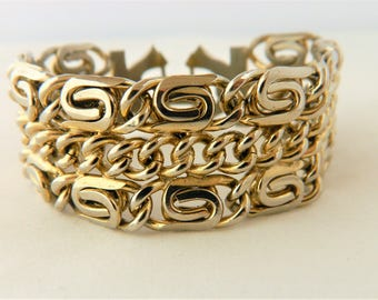 Vintage Chunky Multi Strand Chain Link Bangle Bracelet Geometric Boho Chic