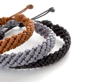 Pick your colour Knot Bracelet - Waxed Cord Bracelet - His Her Cotton Bracelet, Macrame Bracelet, Men Women