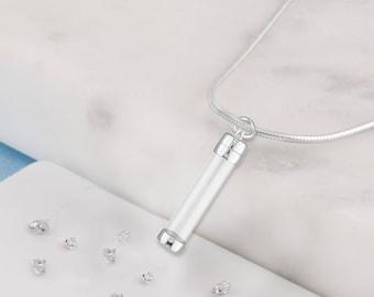 Silver memorial DIY clear urn necklace