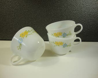 Set of 3 Pyrex Cups with Yellow Flowers & Blue Butterflies Lovely Trio of Vintage Coffee Mugs