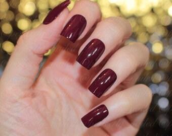 Glossy Burgandy • Handpainted False Nails • Fake Nails • Press on Nails • Stick on Nails