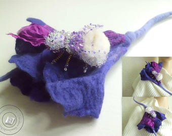 Brooch hand-felted flower fantasy ultra violet purple gift for women girlfriend jewelry felt accessories boho style clothing-gift for her