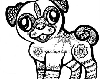 A4 Artwork Print - Mehndi Pug