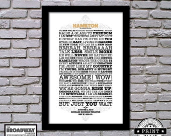 Hamilton - Framed - Quotes - Lyrics - Typography Print