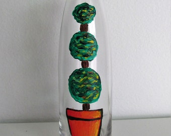 Hand-Painted Decorative Bottle featuring Topiary Plant
