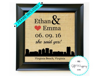 VIRGINIA Custom ENGAGEMENT GIFT for Couple Burlap Gifts for Couples Party Bridal Wedding Shower Present Fiance Gift for Her Virginia Beach