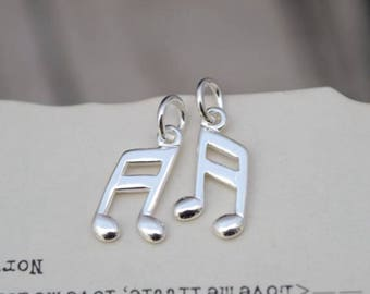 4 pcs sterling silver music note charm pendant