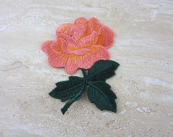 Embroidered Floral Patch - Orange Flower Appliques