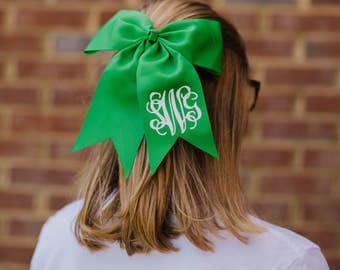 Green Monogram Bow | Monogram Cheer Bow | Monogram Sports Bow | Little Girls Bow | Soccer Bow | Basketball Bow | Softball Bow |Monogram Bow
