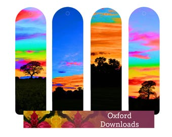 SALE Sunset Printable Bookmarks, Unique Bookmarks, English Countryside, Book Gifts, Nature, Printable Art, Digital Download Photography