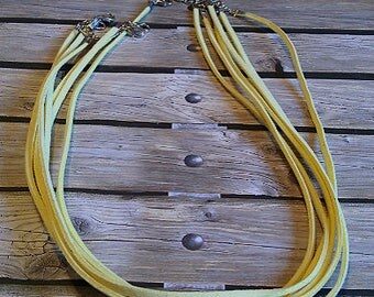 Yellow leather necklace, 18 in. w/2 in. extender chain, set of 6, #e-504