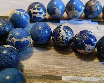Blue & Cream Marbled 12mm Glass Beads, 32pc. #e-013