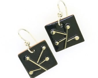 Abstract Silver and Glass Enamel Copper Abstract Minimalist Dangle Drop Earrings, Mid Century Modern Inspired