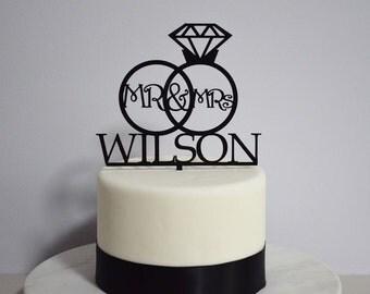 Mr & Mrs Wedding Custom Personalized Name Cake Topper - Bride and Groom Wedding Ring Cake Topper