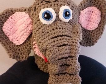 Crocheted elephant hand puppet