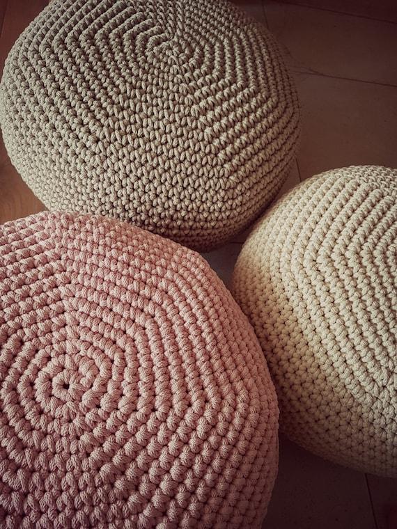 Light white Pouf Cover Crochet Footstool Pouf Bean Bag