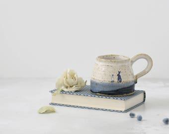Rustic ceramic bunny rabbit mug glazed in shades of blue and creamy white - handmade stoneware pottery