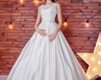 A line wedding dress with satin  skirt