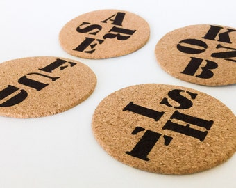 Rude Cork Coasters - set of 4 or 6 custom