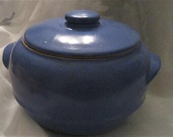 USA Pottery Blue Lidded Casserole Bean Pot Mid Century Art Ceramic Pot Unmarked McCoy Pottery Blue Oven Safe Casserole Blue Decor Gift
