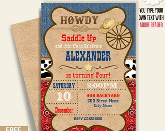 Cowboy birthday invitation, Printable party invite, western birthday party, Instant Download self Editable PDF File A230