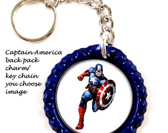Captain America backpack charm/keychain,you choose image.captain america jewelry,captain america charms,captain america keychains,marvel