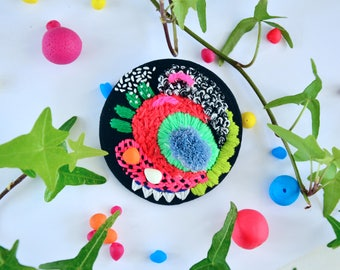 Texture Quirky Brooch - Glow in the Dark Fabric Brooch - Neon Embroidery Brooch -  Art to wear - Fabric Jewelry - Abstract Jewelry