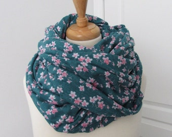 Green Infinity Scarf with Pink Flowers