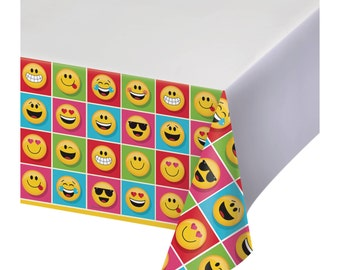 Emoji Table Cover, emoji decoration, emojions birthday party, texting decoration, texting birthday party