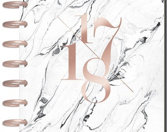 Sale! 2017-2018 Classic Happy Planner - Modern Marble - 18-Month Planner/White Marble with Rose Gold Cover/Rose Gold Discs/