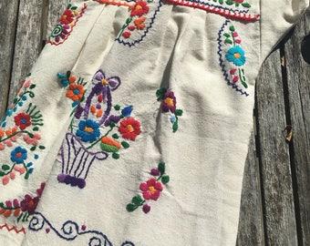 Mexican Dress, Girls' Puebla Dress, Fiesta Dress