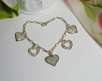 Sweetheart Bracelet - Sterling Silver Heart Charm Bracelet Vintage - Sterling Silver Heart Charm Bracelet 925