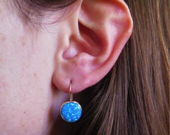 Opal Earrings, solid Gold Earrings, Blue Opal jewelry, Opal Drop Earrings, Gold Drop Earrings, Blue Opal, 14k Gold Earrings, Gold Jewelry