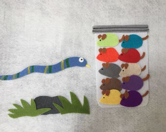 Mouse count felt story set/teaching resource/Flannel Board/Felt Board Activity Set/Imagination/Preschool/Creative Play