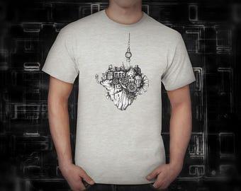 Berlin in the sky ash gray t shirt for men, screen printed men's short sleeve tee shirt, Size S,  M, L, XL, XXL