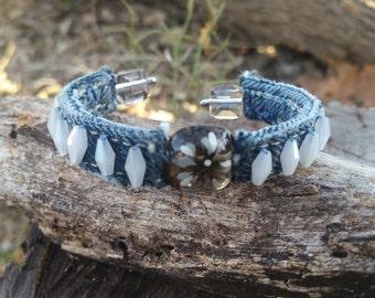 Denim Bracelet with Glass Beads