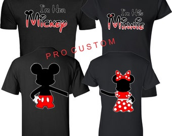 IM Her Mickey IM His Minnie LOVE Disney Matching Christmas Cute T-Shirts S-5XL Chrismats Gift