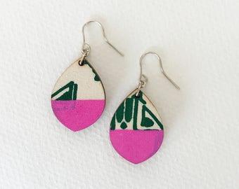 Wooden earrings--lightweight teardrop in Jungle Pink